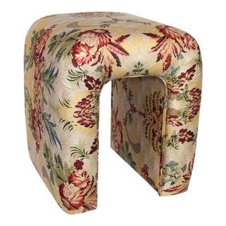 "Scalamandre's ""Duchessa"" Satin Upholstered Waterfall Vanity Stool For Sale"
