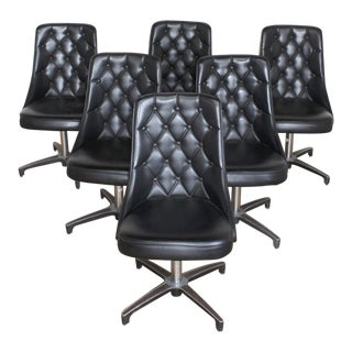 6 Mid Century Modern Tufted Swivel Dining Chairs- Chromcraft Sculpta