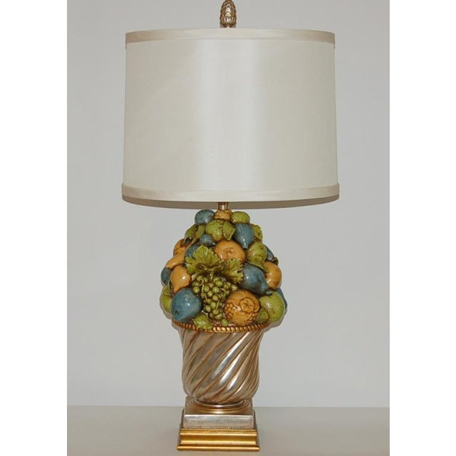 Italian Marbro Italian Ceramic Fruit Bowl Table Lamp For Sale - Image 3 of 10