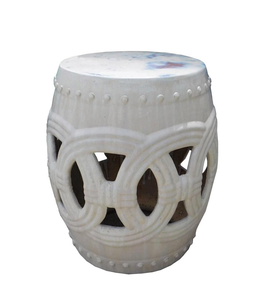 Round Ceramic Garden Stool with White Coin Pattern Chairish