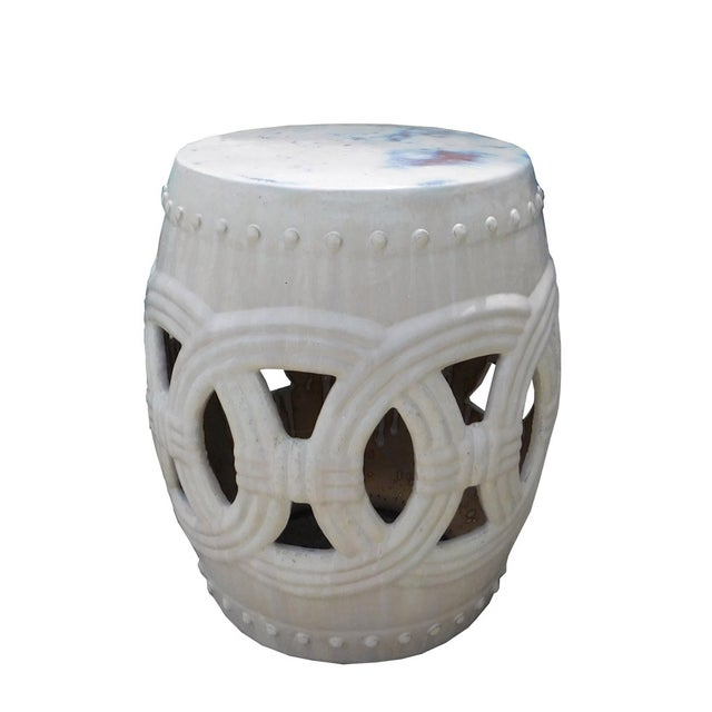 Round Ceramic Garden Stool with White Coin Pattern - Image 4 of 5