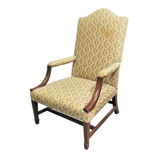19th C Hepplewite Mahogany Library Chair For Sale