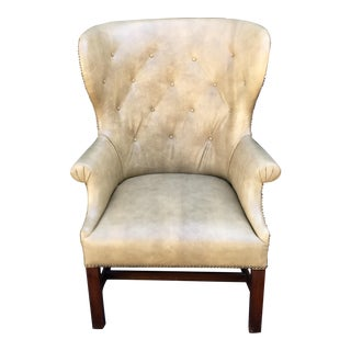 Antique Shagreen Leather Wingback Arm Chair For Sale