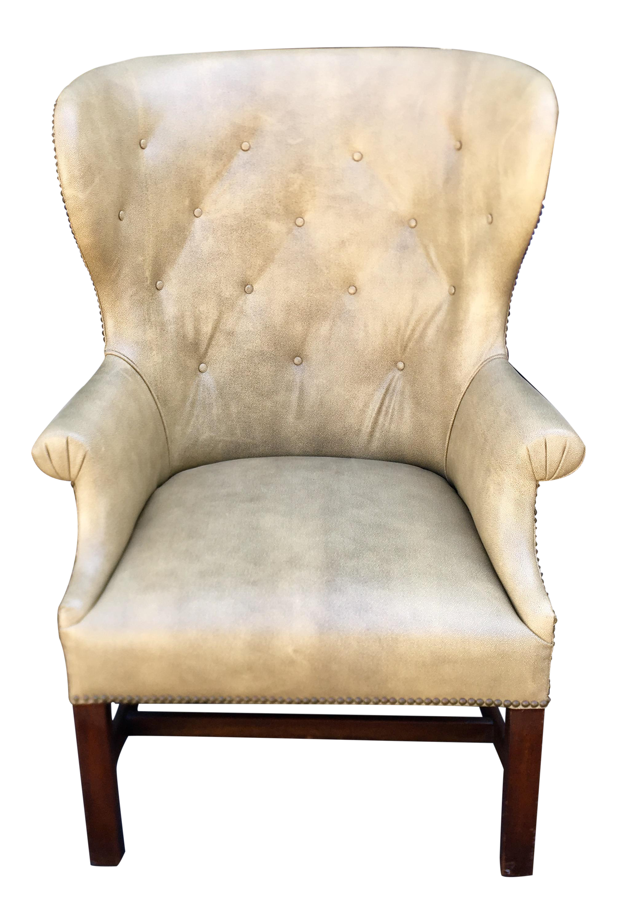 Ordinaire Antique Shagreen Leather Wingback Arm Chair For Sale
