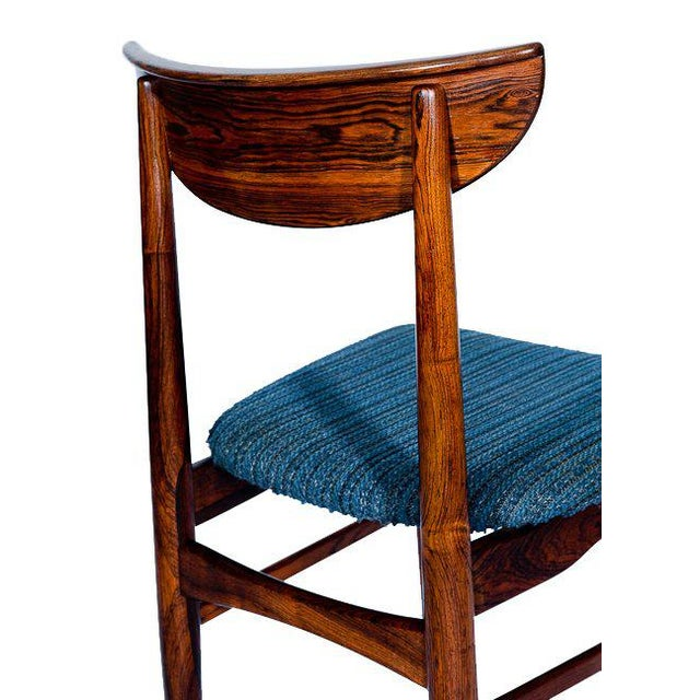 Blue Set Of 4 Rosewood Dining Chairs For Sale - Image 8 of 9