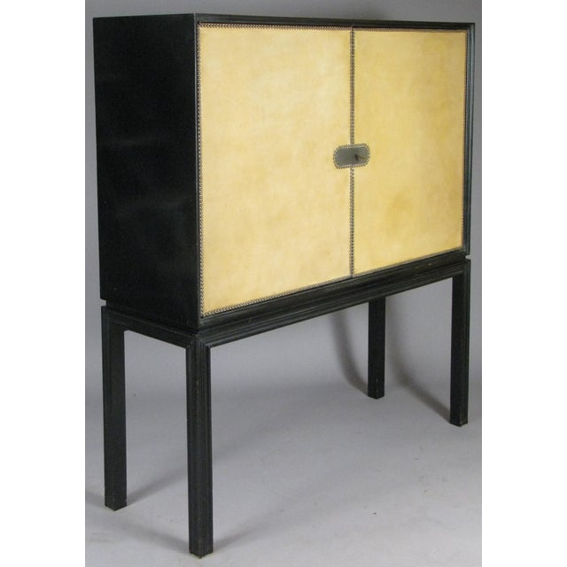1940s Tommi Parzinger Lacquered Leather Bar Cabinet For Sale - Image 11 of 11