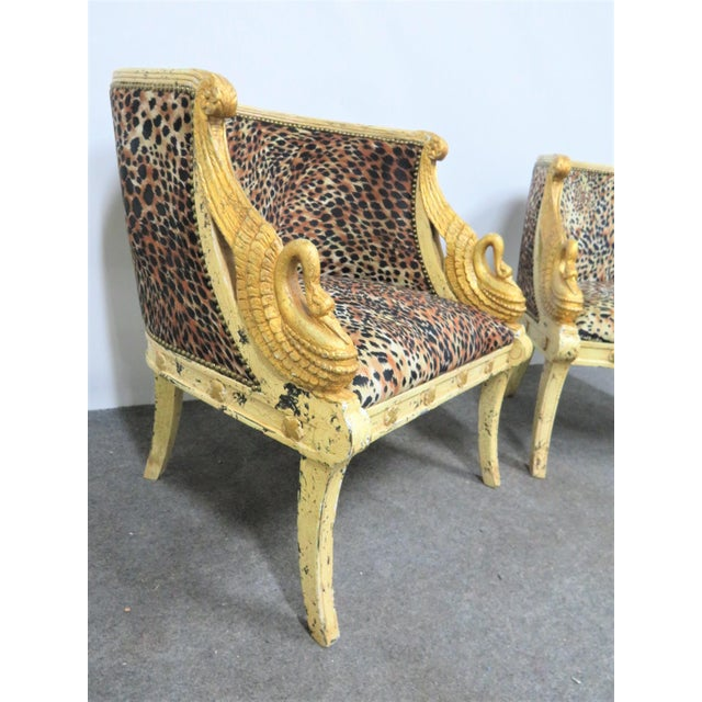 Late 20th Century French Style Swan Carved Cream & Gilt Bergeres- a Pair For Sale - Image 5 of 8