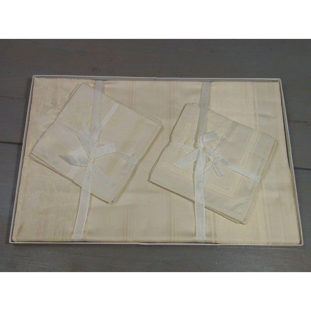 Antique Boxed German Linen Tablecloth & 6 Napkins - Image 3 of 10