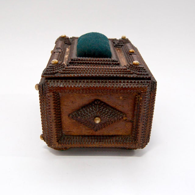 Green Antique French Tramp Art Sewing Box with Raised Velvet Green Pin Cushion For Sale - Image 8 of 10