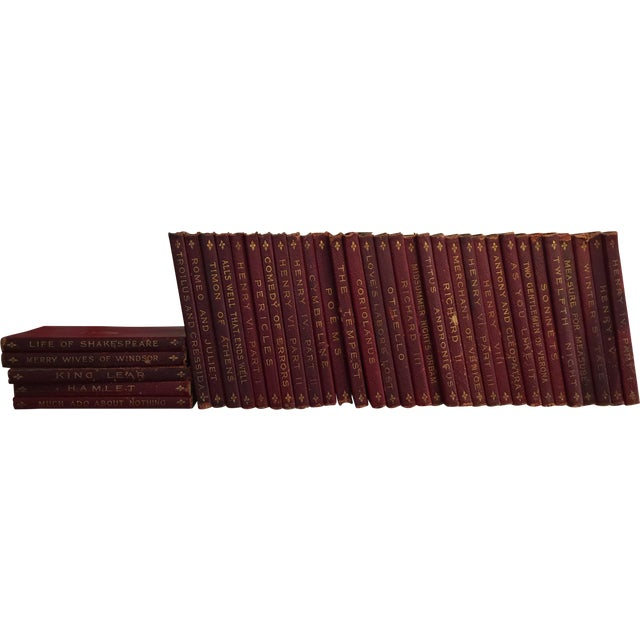 Antique Red Leather Shakespeare Collection - Set of 36 - Image 1 of 4