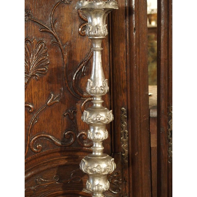 Silver A Pair of Tall 17th Century Silverleaf Candlesticks From Italy For Sale - Image 8 of 12