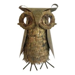 Vintage Brutalist Metal Owl Sculpture For Sale