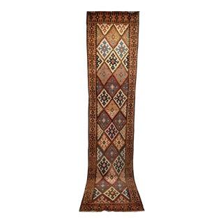 Persian Flat Woven Kilim Runner - 2′10″ × 12′3″ For Sale