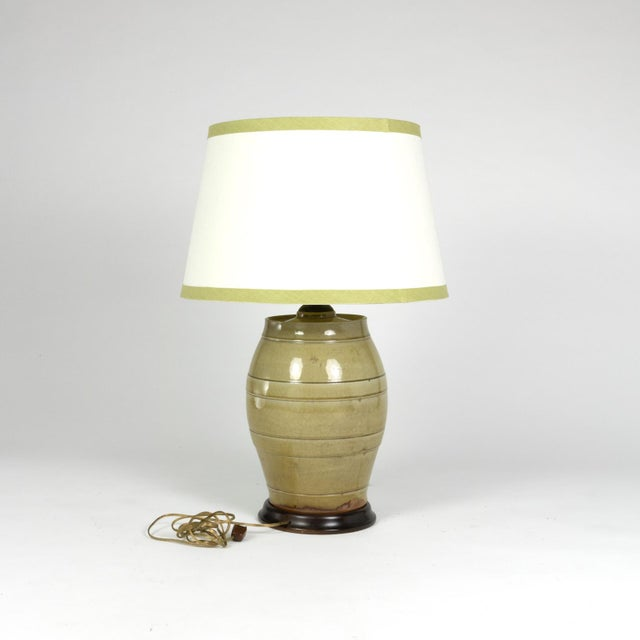 English Traditional Pale Green Glazed Spirit Barrel, English Circa 1880 Mounted and Wired as a Table Lamp With Linen Shade For Sale - Image 3 of 13