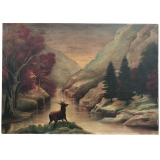 19th Century Antique American School Oil on Canvas Landscape Painting For Sale