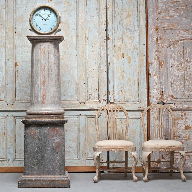 An exceptionally rare and fine Swedish early neoclassical period long case clock with fluted center column from the mid...
