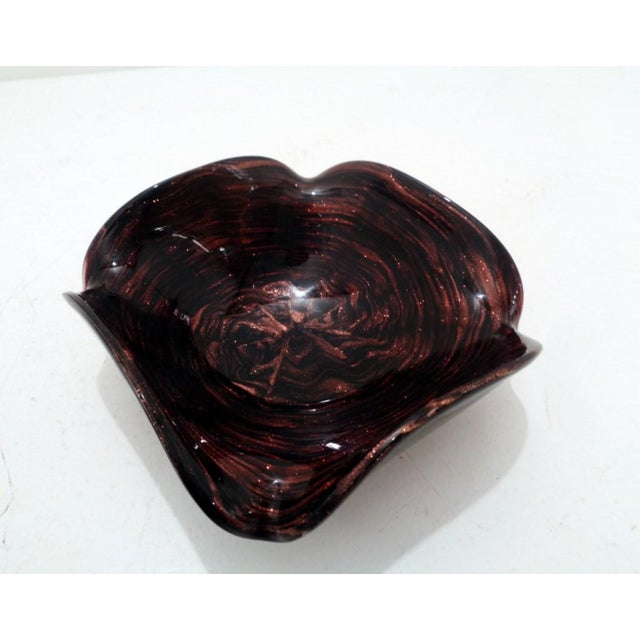Mid Century Venetian Murano Italy Swirl Dark Amethyst Art Glass Dish For Sale - Image 11 of 11