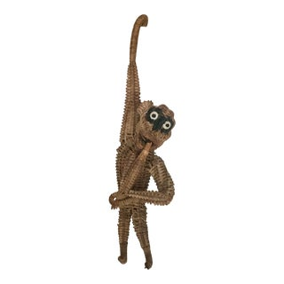 Vintage Mid Century Wicker Rattan Hanging Monkey Figurine For Sale