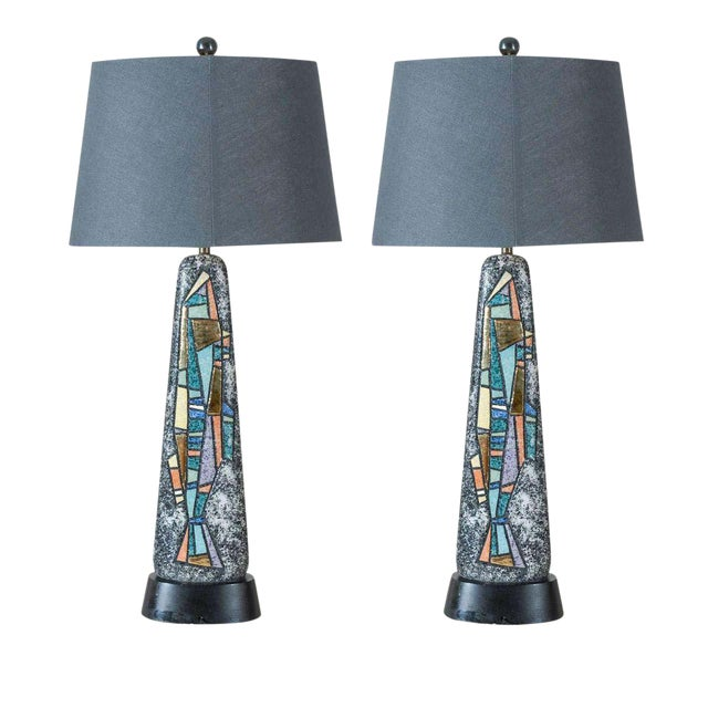 Stunning Pair of Large Scale Abstract Ceramic Lamps For Sale
