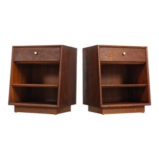 Mid Century Kipp Stewart for Drexel Declaration Walnut Wood Nightstands 1960s - a Pair For Sale