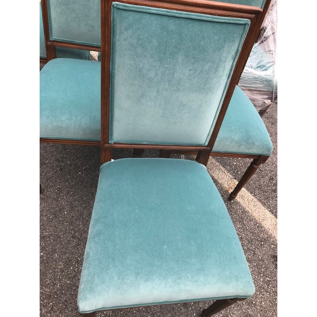 Custom Teal Velvet Dining Chairs - Set of 6 - Image 6 of 7