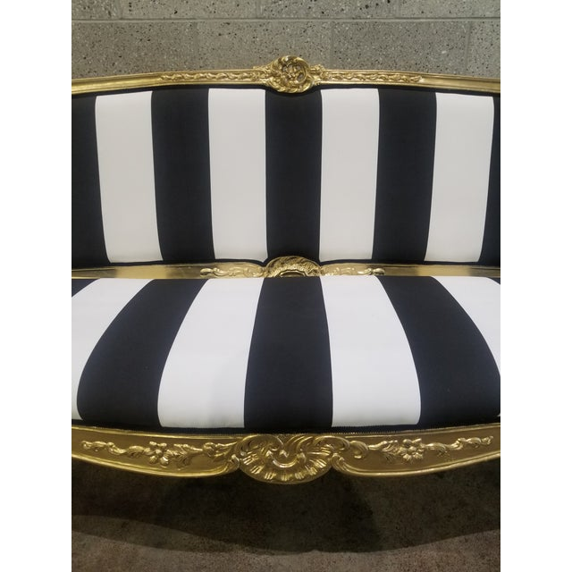 1950s Vintage Victorian Black and White Striped Sofa For Sale - Image 4 of 11