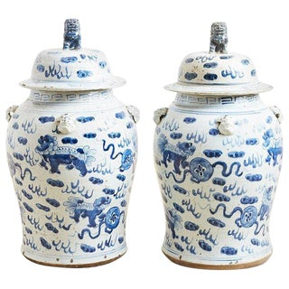 Pair of Chinese Blue and White Ginger Jars and Foo Dogs For Sale