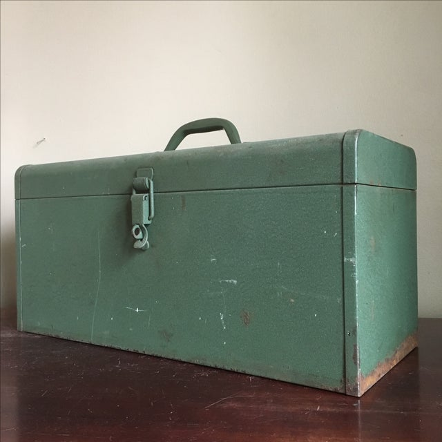 Industrial Vintage Green Kennedy Tool Box For Sale - Image 3 of 11