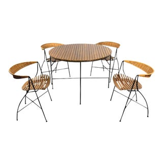 1950s Mid-Century Modern Arthur Umanoff Dining Table and Chairs Set - Set of 5 For Sale