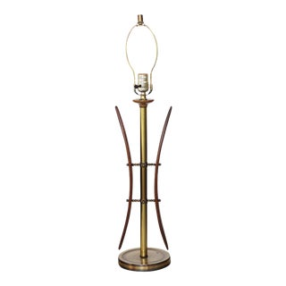 Midcentury Walnut and Brass Table Lamp For Sale