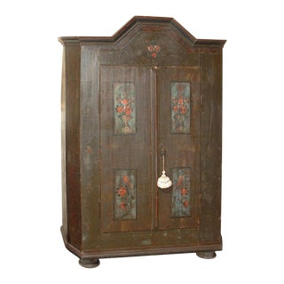 19th Century Baroque Painted Swiss Marriage Armoire For Sale