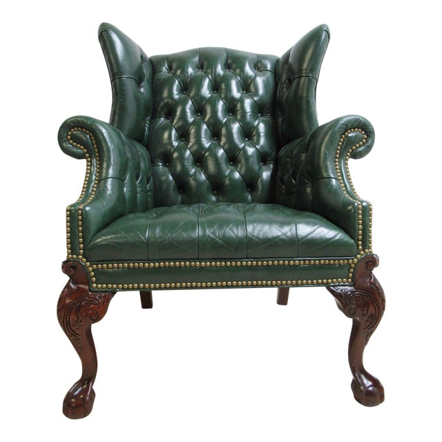 Vintage Chesterfield Style Tufted Ball & Claw Chippendale Wingback Chair - Image 1 of 11