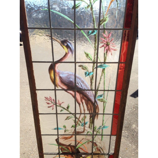 Late 19th Century French Painted and Fired Stained Glass Windows - a Pair For Sale In Minneapolis - Image 6 of 13