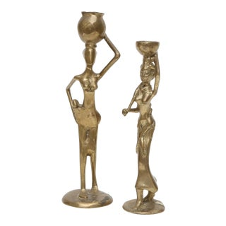 Vintage Brass Tribal Women Candle Holders - A Pair