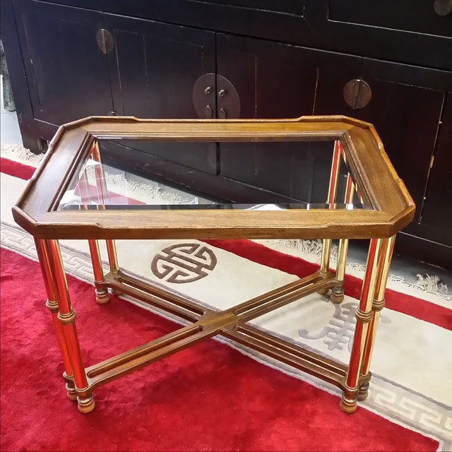 Hollywood Regency Glass Top Wood & Brass End Table For Sale In Boston - Image 6 of 8