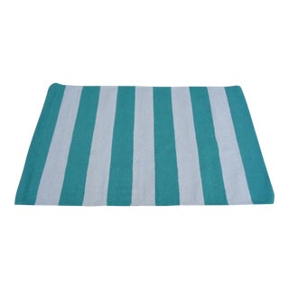 "Surya 100% Wool Rug, Green and Cream Nautical Stripe - 3'6"" x 6' For Sale"