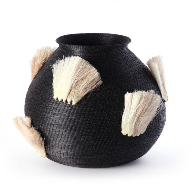 Fanned Out Large Bulbous Vase Black & Flax Fans For Sale - Image 4 of 4
