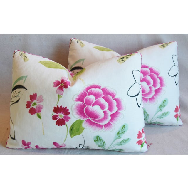 "French Manuel Canovas Floral Linen Feather/Down Pillows 22"" X 16"" - Pair For Sale - Image 12 of 13"