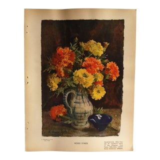 """Vintage French Color Print, """"Roses D'inde"""" by Lagron - 1936 For Sale"""