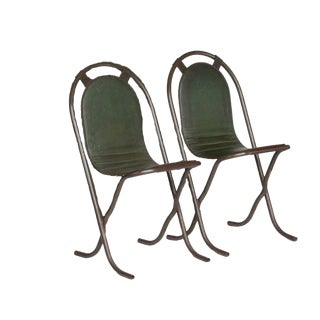 Pair of 1940s Green Arch Back English Chairs For Sale
