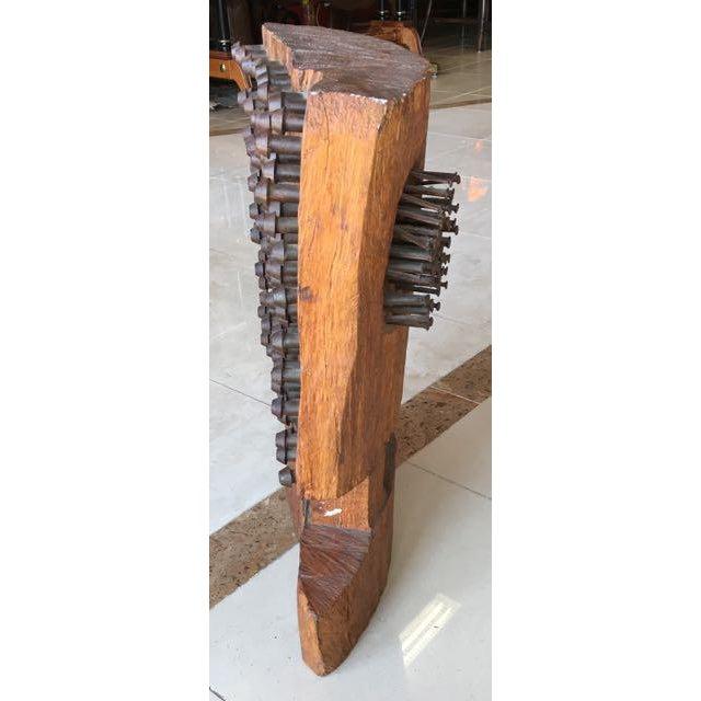 Mid-Century Brutalist Wood Sculpture - Image 6 of 8