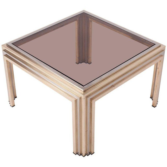 Gold Romeo Rega Brass and Chrome Coffee Table For Sale - Image 8 of 8