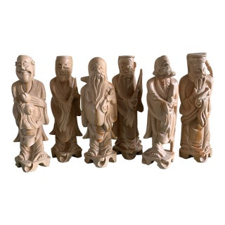 Vintage Carved Chinese Diety Gods - Set of Six For Sale