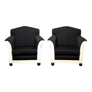 Pair of French Art Deco Vellum Edged Club Chairs For Sale