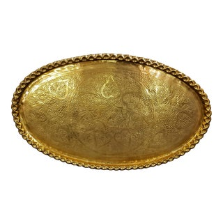 1970s Boho Chic Large Oval Brass Coffee Table Top or Wall Hanging For Sale