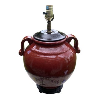 Chinoiserie Deep Red Ginger Jar Lamp For Sale