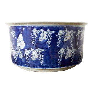 Chinese Export Blue and White Planter Jardiniere For Sale