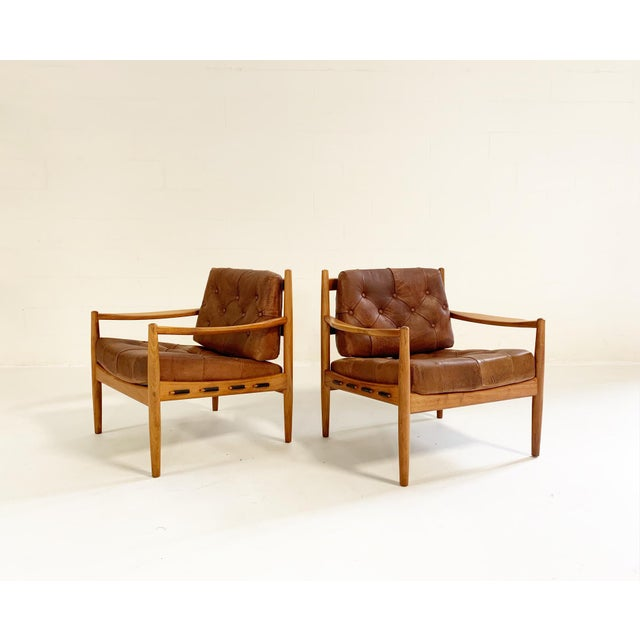 Wood Ingemar Thillmark Lacko Buffalo Hide Lounge Chairs - a Pair For Sale - Image 7 of 8