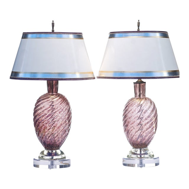Vintage Purple Murano Lamps - a Pair For Sale
