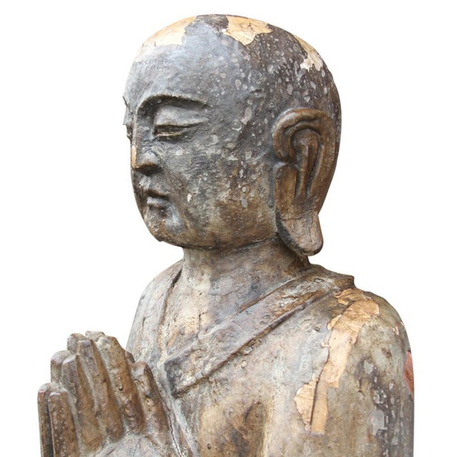 Antique Wooden Monk Statue - Image 4 of 6